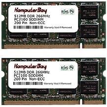 Komputerbay - Módulo de memoria (SO-DIMM, 1 GB, 2 unidades de 512 MB, 200 pines, PC-2100, DDR, 266 MHz)