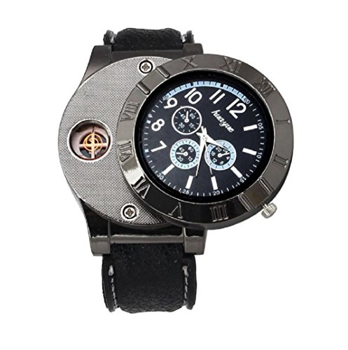 Amcool Quarz Uhr Armbanduhr,Luxus Multifunktions Militär USB Zigarette Zigarre Flammenlos Feuerzeug(Schwarz)