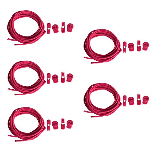 Andux 5 Paires Aucun Cravate Lacets Usure Rapide Lazy Lace Adultes Enfants Upstream Lacets Couleur Lock Laces KSXD-01