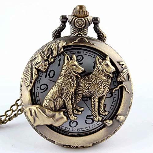 Taschenuhr, mit Quarz-Uhrwerk und Halskette, cooler Stil, antiker Stil, hohl, Bronze