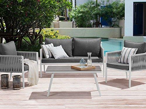 Beliani Gartenmöbel Set für 4 Personen grau Latina