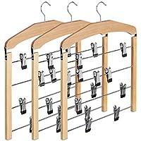 Relaxdays Rockbügel 3er Set, Hosenbügel Holz, 360° drehbarer Haken, Kleiderbügel rutschfest, HBT: 45,5x39x2,5 cm, natur