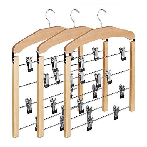 Relaxdays appendiabiti multiplo per gonne e pantaloni in set da 3, in legno, gancio rotabile a 360°, grucce antiscivolo, beige, 3 pezzi