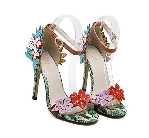 WZG Die neuen ultra-Schuhe mit hohen Absätzen, Frau Blumen Serpentin Schuhe mit hohen Absätzen 11CM hochhackigen Sandalen Blumen Blue
