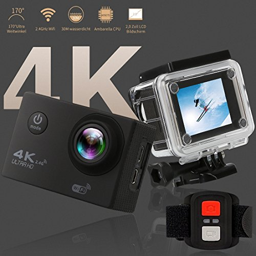 """Better Choice Action Kamera 4K Ultra HD Sport Camera Wifi 30m Wasserdichte Unterwasserkamera mit 170 ° Weitwinkel 16MP Outdoor Video Recorder 2"""" LCD und Zubehör Kits für Tauchen Skifahren Surfen."""