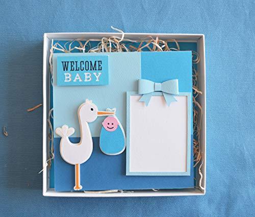 Willkommen Baby - Fotorahmen mit haken - Monofotorahmen - blau Schleife - Ideal für Geburten - Babydusche (Größe 16 x 16 cm) in einer hübschen handgefertigten Schachtel (18,5x18,5 cm)