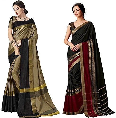 Indira Designer Women's Art Cotton Blend With Blouse Combo OF 02 Sarees...