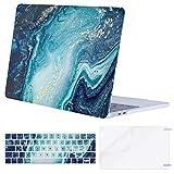 MOSISO Funda Dura Compatible 2019 2018 2017 2016 MacBook Pro 13 USB-C A2159 A1989 A1706 A1708, Protector de Plástico&Piel de Teclado de Mismo Color&Protector de Pantalla, Mármol de Ola Creativo