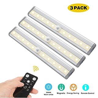 LED Unterbauleuchten, 3 Pack Fernbedienung Küche unter Kabinett Beleuchtung Schwenkbar Lichtleiste Küchenleiste Timer LED Küchenlampe Schrankleuchte