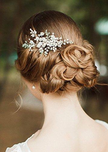 Kercisbeauty da sposa, damigella flower girl menta verde perline pettine sposa pettine copricapo accessori per capelli lunghi e ricci chignon, rustico matrimonio