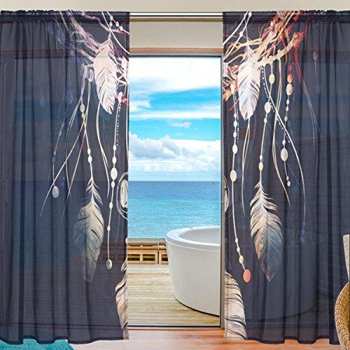 2PC jstel Dreamcatcher Boho Muster Print Tüll Polyester Tür Voile Fenster Vorhang Sheer Vorhang Panels für Schlafzimmer Wohnzimmer Fall Zwei scheibenelementen Set 139,7x 213,4cm