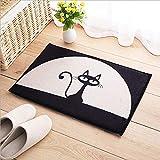Ebeta Fußmatte mit Motiv Katze Fußabtreter Schmutzmatte Schmutzfangmatten für Haustür Innen- und Außen Fußmatte Teppich waschbar 40x60 cm