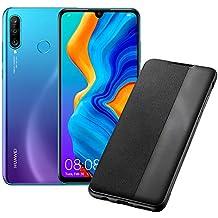 """HUAWEI P30 Lite (Blue) Smartphone + cover, 4 GB RAM, Memoria 128 GB Espandibile, Display 6.15"""" FHD+, Tripla Fotocamera Posteriore da 48+8+2 MP, Fotocamera Anteriore 24 MP [Italia]"""