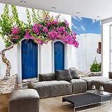 Fotomurales Papel tapiz personalizado Murales Romántico Grecia Arquitectura europea Telón de fondo Mural Foto Fondo de pantalla Para la pared de la sala de estar 3D 300x200cm