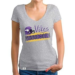 Shirtdepartment - Damen T-Shirt V-Ausschnitt - Vikes - Minnesota hellgrau-lila S