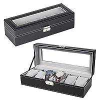 NEX 6 Slot Leather Watch Box Display Case Organizer Glass Jewelry Storage Black
