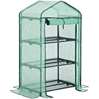SONGMICS 3-Tier Mini Greenhouse Planting Shed with Flowerpot Shelves 69 × 49 × 125 cm Green GWP03L