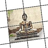 creatisto Bad-Fliesen Mosaik-Fliesen | Muster-Aufkleber Folie Sticker Küchenfolie Wanddeko | 20x20 cm Erholung Wellness Relaxing Buddha - 4 Stück