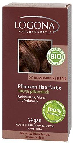LOGONA Naturkosmetik Coloration Pflanzenhaarfarbe, Pulver - 060 Nussbraun-Kastanie - Braun, Natürliche & pflegende Haarfärbung (100g) (Natürliche Henna-pulver)