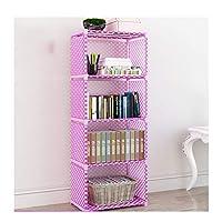 Gokiu 4 layers DIY Combination Cabinet Fabric Children Bookcase Furniture Accessories Modern Bookshelf Simple Economical Bedroom,Purple