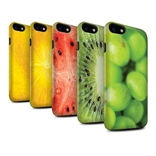 STUFF4 Matte Harten Stoßfest Hülle / Case für Apple iPhone 8 / Kiwi Muster / Obst Kollektion Multipack (7 Modelle)