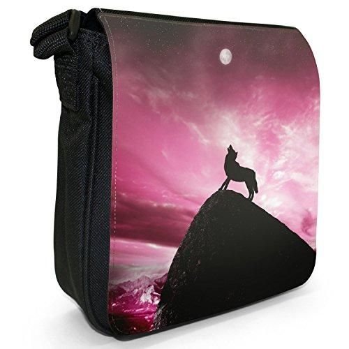 Lupo che ulula alla luna piena-Borsa a tracolla in tela, piccola, colore: nero, taglia: S Pink