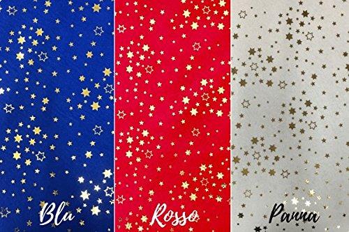 Pannolenci FANTASIA STELLE LUREX - A metraggio a partire da 50 CM DI  LUNGHEZZA x 150 CM di LARGHEZZA FISSA - Spessore 1 mm - Panno fai da te  Natale (Rosso) d7390c96370