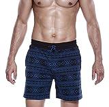Honeystore Herren Badeshorts Badehose Schwimmhose Schwimmshorts mit Bindeschnur und Taschen, aus hochwertigem Material Blau XL
