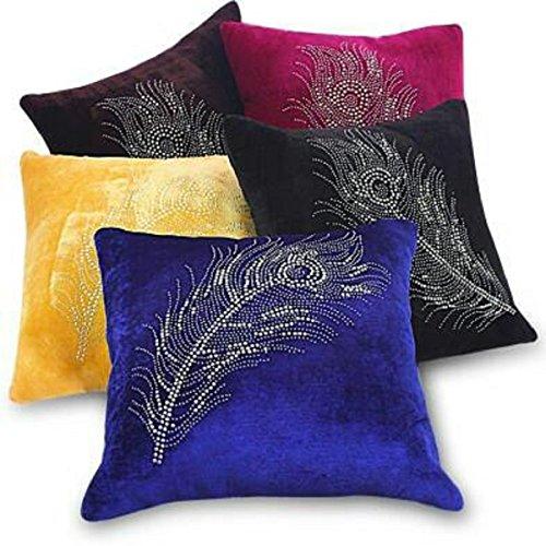 Kuber Industries™ Velvet Cushion Cover Set of 5 - Peacock Feather Design...