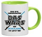 Einschulungsgeschenk Erstklässler Kaffeetasse 2-farbige Tasse Bye Bye Kindergarten - ein Schulkind, Größe: onesize,weiß/hellgrün