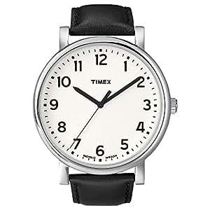 Timex - Unisex - T2N338 - Heritage Easy Reader - Quartz Analogique - Boîtier en Métal - Blanc - Noir - Cuir