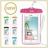 Naruba Media Waterproof | wasserdichte Handyhülle für alle Smartphones bis zu 6 Zoll |19,5 x 11,5 x 1,2 cm| inklusive Gurt und Schnellverschluss (Pink)