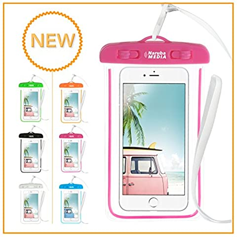Naruba Media Waterproof | wasserdichte Handyhülle für alle Smartphones bis zu 6 Zoll |19,5 x 11,5 x 1,2 cm| inklusive Gurt und Schnellverschluss