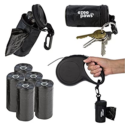 Ezee Paws Dog Poo Waste Bag Holder Dispenser with Lead Attachement and Key Clip Includes 5 Rolls (100 Bags) 1