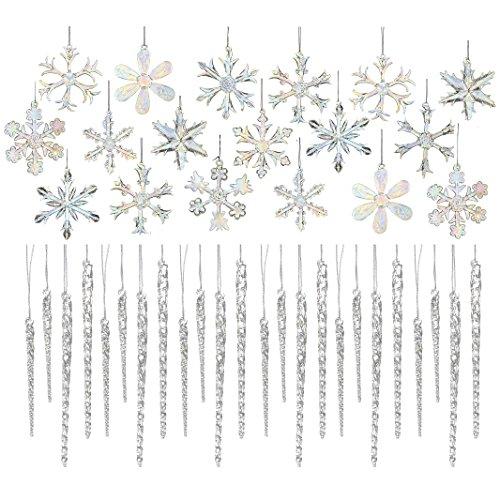 Kurt Adler Glas 2, irisierend, Schneeflocke Ornaments 18und klarem Glas Eiszapfen Ornaments 24(12x 3,5& 12x 14cm) Icicles 3.5-inches to 5.5-inches Tall. Each snowfl 24 Icicles + 18 Snowflakes (Ornamente Schneeflocke Glas)