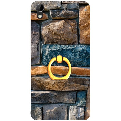 Casotec Decorative Stone Cladding Design 3D Printed Hard Back Case Cover with Metal Ring Kickstand for HTC Desire 728G
