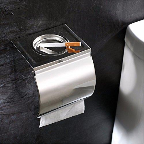 LOSTRYY Badezimmer Edelstahl Wand-Aschenbecher quadratisch Silber Zigarettenspitze Toilettenpapierhalter Zigarettenspitze Rollenpapier Inhaber 12.5 * 12.5 * 12CM