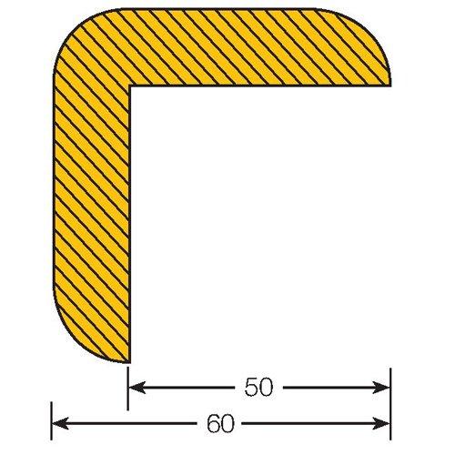 Praktische Panda 422.25.253.5422.25.253Traffic Line Auswirkungen Kantenschutz, magnetisch Fassung, rechts Winkel 60/60, Länge 1000mm, Gelb/Schwarz (5Stück)