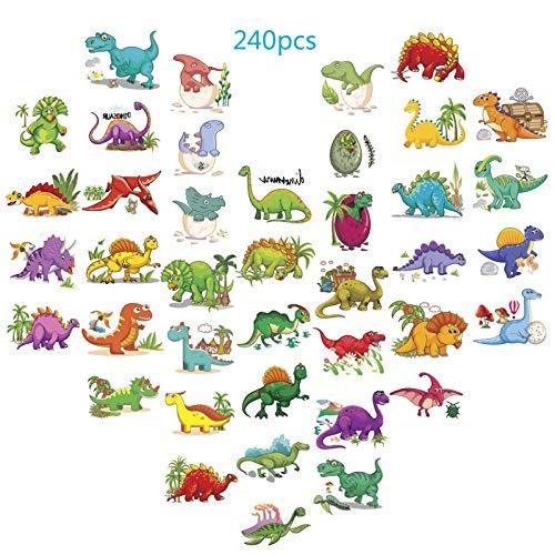 Zoomsky tatuaggi temporanei di dinosauro, 240pcs (confezione da 30 fogli) buon compleanno dinosauro e uova tatuaggi bambini ragazzi festa di compleanno bomboniere forniture goodie bag fillers