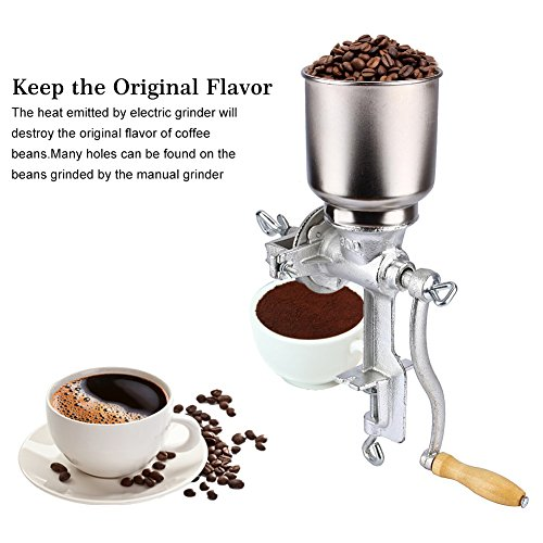 Molino de Grano de Café, Molino de Maiz Manual Amoladora de Cocina Ajustable Grano Tuerca Amoladora Trituradora para Trigo de Maíz Avena, 43 × 28 × 16 cm