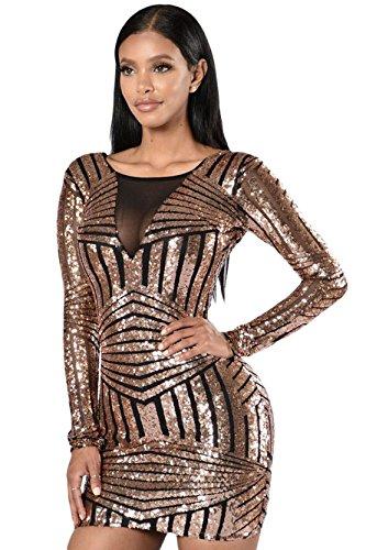 Donna Rosa Nero Vestito di paillette aperto Indietro Manica Lunga Vestito da festa (M, nero)