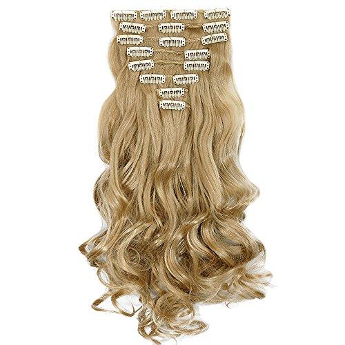 Extension clip bionde capelli sintetici mossi lunghi 24 pollici 60cm full head hair extension 8 ciocche