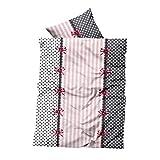 Leonado Vicenti Winter Fleece Bettwäsche grau Weiß rosa gestreift gepunktet Schleifen kuschel flausch warm Bezug Kissen, Maße:155 cm x 220 cm