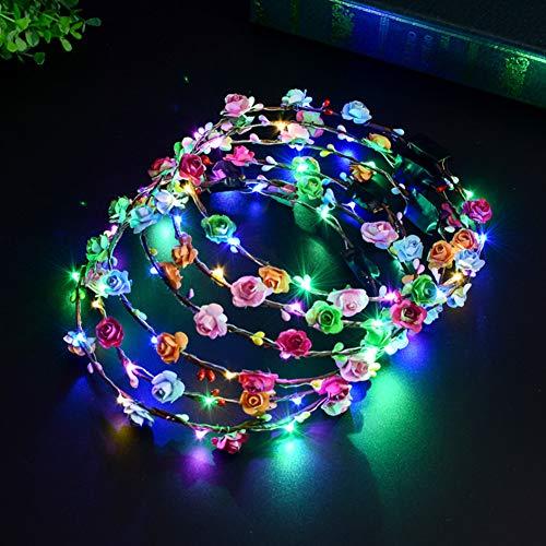LED Diademas de Flores, Danolt 10 Piezas Multicolor Coronas de Flores para Mujeres Niñas Playa Festival Boda Cumpleaños Fiesta