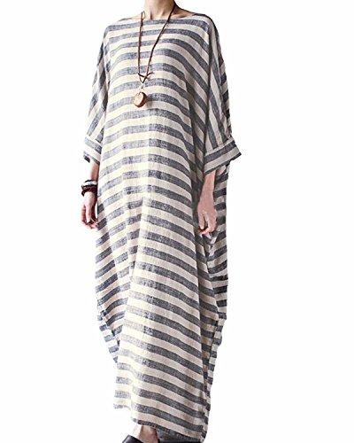 BONESUN Damen Sommer Striped Batwing Leinen Baumwolle lose Kaftan Casual Kleid Große Größe Streifen DE 44 (Leinen-baumwoll-kleid)