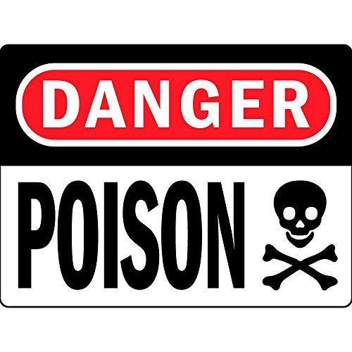5 Zoll Vinyl Decal (qzclpg Danger Poison Osha Vinyl Label Decal Sticker Pack of 3, 7 inches x 5 inches)