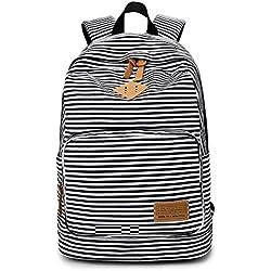 Moda lindo rayas Casual lona portátil bolso escolar mochila ligera mochilas para niñas adolescentes
