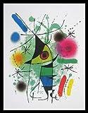 Joan Miro Le Chanteur Singing Fish Singender Fisch Poster Kunstdruck Bild im Alu Rahmen in schwarz 80x60cm