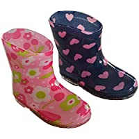 Mellow Be Soft Touch Lightweight Infant Baby Girl rain Boots. Choice of Two Colours; Pink Flowers Blue with Pink Hearts.Available to fit 15-24 Months (Euro 19-24)