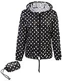 Meaneor Damen Jacke Übergangsjacke Regenjacke mit Kapuze Tasche Regenparka Funktionsjacke Wasserdicht Atmungsaktiv,Schwarz+Weiß Punkten - EU 38(Herstellergröße: M)